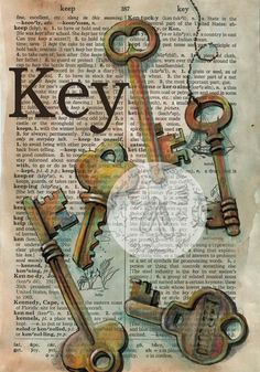 PRINT:  Key Mixed Media Drawing on Distressed, Dicitonary Page