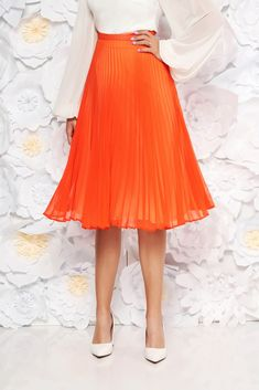 StarShinerS orange elegant cloche skirt voile fabric folded up high waisted, inside lining, voile fabric, folded up, side zip fastening Folded Up, Body Measurements, Size Clothing, Best Sellers, High Waisted Skirt, Curvy, Orange, Elegant, Skirts