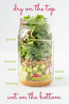 Mason Jar Salad - Fresh And Springy Walnut, Radish, And Apple Salad. We love all these salad ideas so check them out for an easy, healthy, energizing meal. Mason Jar Meals, Meals In A Jar, Mason Jars, Canning Jars, Clean Eating, Stop Eating, Healthy Salads, Healthy Eating, Healthy Recipes