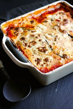 This noodless version of eggplant lasagna is a wonderful low carb dinner. Made with a rich italian turkey meat sauce and three cheeses! Everyone will love this.