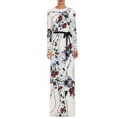 Erdem Women's Agnes Floral Silk Gown ($1,795) ❤ liked on Polyvore featuring dresses, gowns, white, long-sleeve floral dresses, white silk dress, long sleeve gowns, floral dresses and floral gown