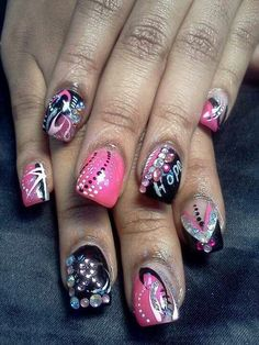 #Black and #Pink #NailDesign