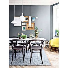 Love the art wall -- would be perfect in our dining room. my scandinavian home: Fabulous spaces by Johanna Pilfalk Interior Design Inspiration, Home Decor Inspiration, Bentwood Chairs, Living Room Grey, Scandinavian Home, Dining Room Design, Dining Area, Dining Rooms, Dining Table