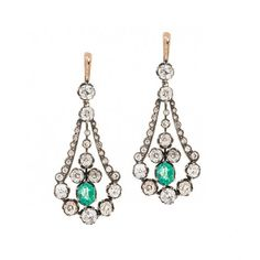 Georgian Diamond & Emerald Earrings