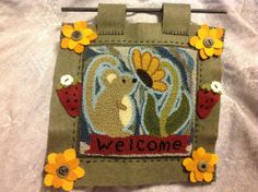 Primitive Needle Punch Wall Hanging. Mouse & by PerfectPrimPunch, $34.75
