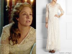 """In the episode 3x07 (""""The Hound and the Hare"""") Queen Catherine wears this sold out Kate Moss for TopshopEmbroidered Tulle and Crocheted Lace Maxi Dress."""