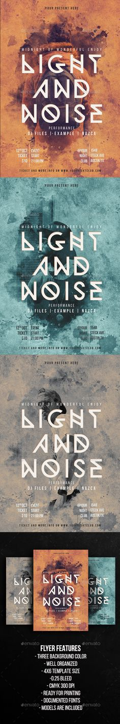 Light and Noise Party Flyer Template  — PSD Template #4x6 #special night • Download ➝ https://graphicriver.net/item/light-and-noise-party-flyer-template/18209851?ref=pxcr