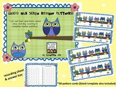 Whoo Can Solve Number Patterns? Spring-themed math station activity that focuses on patterns with basic operations, place value, doubles, and skip counting! http://www.teacherspayteachers.com/Product/Whoo-Can-Solve-Number-Patterns