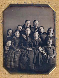 SCHOOL GIRLS WITH THEIR TEACHER (via Fine Daguerreotypes and Photography)