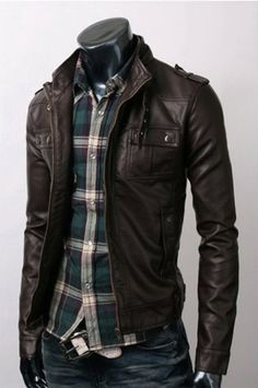 Handmade Men Brown Leather Jacket - UK Merchant Only: 109.00 €