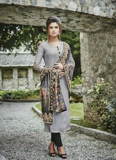 Gray and black salwar suit