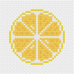 Lemon cross stitch pdf pattern - Ringcat - The third upload in sliced fruit cross stitch pattern series for patreon. Cross Stitch Fruit, Small Cross Stitch, Cross Stitch Bookmarks, Cute Cross Stitch, Beaded Cross Stitch, Modern Cross Stitch, Cross Stitch Kits, Cross Stitch Charts, Cactus Cross Stitch