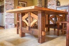 Farmhouse Table Hand Made with Reclaimed Douglas Fir Barn Wood This handmade mortise and tenon farm table is built to last generations. It is constructed entirely Farmhouse Living Room Furniture, Log Furniture, Country Furniture, Woodworking Furniture, Woodworking Basics, Woodworking Projects, Woodworking Ideas Table, Furniture Design, Furniture Buyers