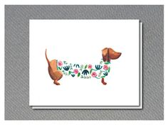 Watercolour paintings of Dachshunds card set of 5 by JAQUELINEB, $16.00