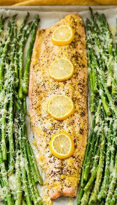 One Pan Roasted Lemon Pepper Salmon and Garlic Parmesan Asparagus- I would prob skip the asparagus