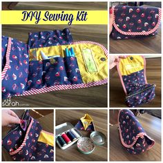 Sew: DIY Portable Sewing Kit/Caddy/Organizer {Sort of a Tutorial made from the So Sew Easy cosmetics bag with brush roll pattern