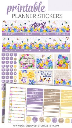 🌼 Style your April monthly Erin Condren spreads with this spring floral printable planner stickers kit from Design Lovely Studio! 💘 Fitness planner Printable APRIL Planner Stickers, April Monthly Stickers Kit, for Erin Condren Life Planner, Easter Printable Planner Stickers, Diy Stickers, Printable Calendars, Summer Planner, Mini Happy Planner, Erin Condren Life Planner, Monthly Planner, Floral Printables, Planner Decorating