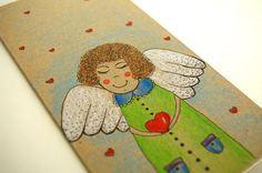 CHRISTMAS CARD Hand painted greeting card Children by artbyasta