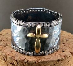Hand Forged Silver, 18 Karat Yellow Gold and Diamond Ring