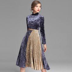Велюровое платье женские лоскутные плиссированные водолазка Одежда с длинным рукавом пояса 2 цвета работа платье Новинка; модный стиль 2017