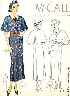 McCall 8343 | 1935 Ladies' & Misses' Dress & Cape