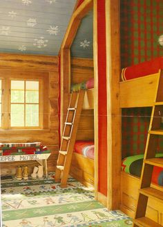 Bunk bed heaven in the mountains! Perfect for rustic lodge look. Love the ceiling!