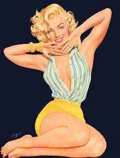 Marilyn Monroe by Ben-Hur Baz Vintage Pin Up Girl Illustration Pin Up Vintage, Photo Vintage, Retro Pin Up, Pinup Art, Pin Up Girls, Poses Pin Up, Monika Kruse, Dibujos Pin Up, Pin Up Illustration