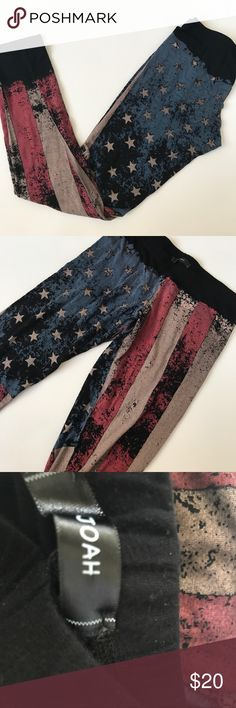 """I.Joah American flag girls leggings Gently used condition no holes no stains. Not sure of size but measures 28 1/2""""inseam 12"""" lying flat unstretched approximately. Elastic waistband i.joah Bottoms Leggings"""
