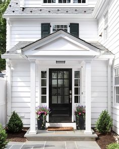 Exterior front doors, colonial exterior, black front doors, front d Colonial House Exteriors, Colonial Exterior, Exterior Front Doors, Modern Farmhouse Exterior, Exterior Design, Colonial Front Door, Front Door Overhang, Front Fence, Front Steps