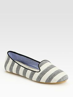 Cotton Canvas Striped Slippers