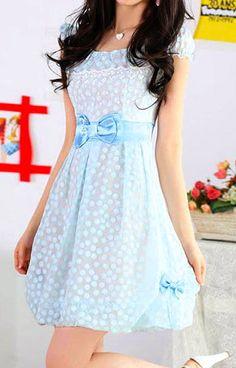 Sweet Polka Dots Bowknots Short Sleeve Bodycon Belted Dress