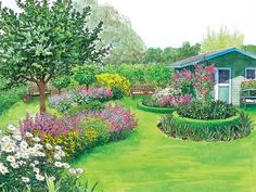 Gartengestaltung Rasenfläche Vorschlag 1