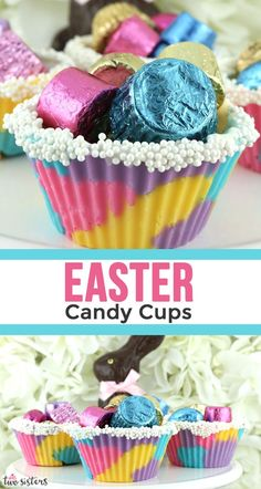 Easter Candy Cups - colorful and festive edible candy cups made with Candy Melts and silicone cupcake liners. This is a fun DIY Easter Craft. Easter Food, Easter Candy, Easter Treats, Easter Recipes, Yellow Candy, Colorful Candy, Pink Candy, Silicone Cupcake Liners, Wilton Candy Melts
