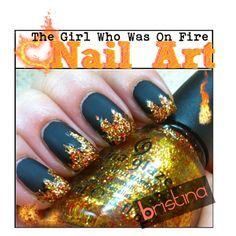 The Girl Who was On Fire Nail Art, created by the-tip-nerds on Polyvore