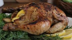 Roasted Lemon Herb Chicken Allrecipes.com...this is my second favorite chicken recipe only changes I make is I add 2 whole lemons sliced in half or quartered to cavaty instead of using lemon juice and I always cook my chicken and turkeys breast side down it is the key to a juicy non dry bird!