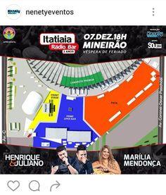 Aniversário da Itatiaia. Henrique & Juliano e Marília Mendonça na Esplanada do Mineirão. Mapa do evento.