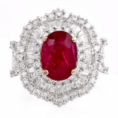 Estate Ruby Diamond Cluster 18K White Gold Cocktail Ring Item # 670502