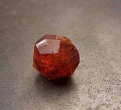 Orange Garnet  faceted crystal  red orange by CoyoteRainbow, $10.00