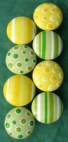Knobs in stripes or polka dots; yellow and green