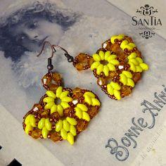 Žlto-medené náušnice :http://santiahandmade.com/produkt/zlto-medene-nausnice/
