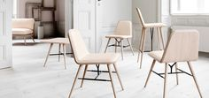 The Spine collection was designed in 2011 by Space CPH and includes a dining chair, bar stool, lounge chair, sofa, as well as a coffee, side, and dining table. The collection pays respect to the exquisite craftsmanship of the 50´s, while offering a modern flavour in its own succinct and simple way.