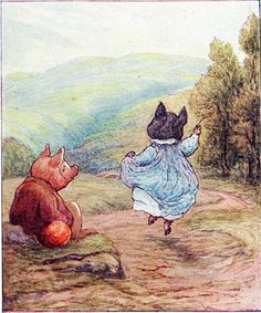 "The Tale of Pigling Bland - ""That's Westmorland,"" said Pig-wig. She dropped Pigling's hand and commenced to dance"