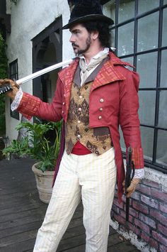 @: Red Steampunk Cutaway Coat, Vest, Trousers, Frilly Shirt and Cravat....circus ring master....