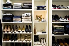 The IKEA Product That's a Closet Secret Weapon: Ikea Billy bookcases with movable shelves for closet / shoe storage