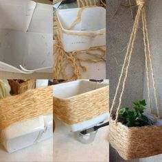 Craft Papers & Molds - Decoration for All Sisal, Rope Crafts, Diy Arts And Crafts, Diy Crafts, Ideias Diy, Diy Planters, Easy Home Decor, Diy Garden Decor, Ladder Decor