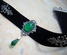 Black velvet choker Victorian Gothic Jewelry Emerald Green crystal