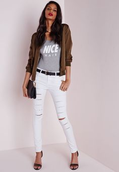 Missguided - Jean skinny blanc déchiré taille moyenne