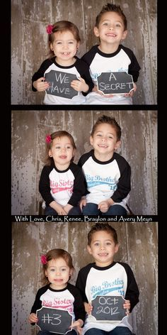 gender announcments with sibilings | Heart Pears: 22 Awesome Pregnancy Announcement Ideas