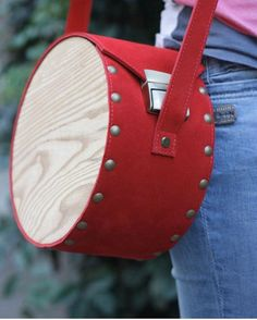 Handmade Bags, Leather Bags Handmade, Leather Craft, Etsy Handmade, Wooden Bag, Unique Bags, Red Leather, Vintage Leather, Small Messenger Bag