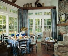 Joan Rivers Finds the Perfect Foil in Connecticut - A French landscape is over the mantel in the kitchen's sitting area, where Rivers entertains, eschewing a more formal dining room. The doors open onto the rear terrace and the property. French Country House, French Farmhouse, Country Farmhouse, Country Decor, Country Kitchens, Country Homes, Country Life, Country Living, Country Style